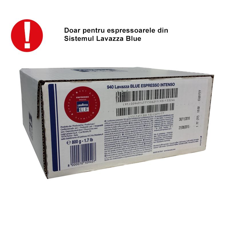 Capsule Lavazza Blue Intenso cutie 100 buc