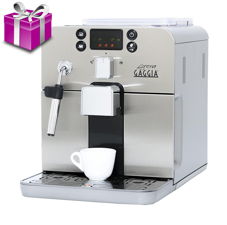 Espressor automat Gaggia Brera Silver, 15 bari, 1.2 l, 250g, display cu simboluri, steamer, cafea cadou