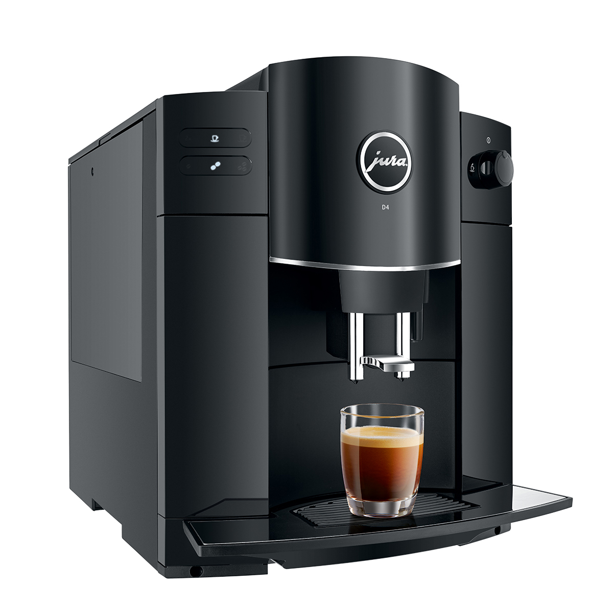 Espressor de cafea Jura D4 Piano Black, 1.9 l, 200g, rasnita AromaG2, afisaj cu simboluri+ cafea cadou