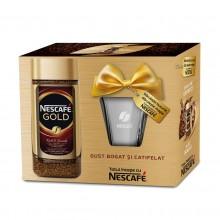 Pachet promo Nescafe Gold 100g si cana de sticla