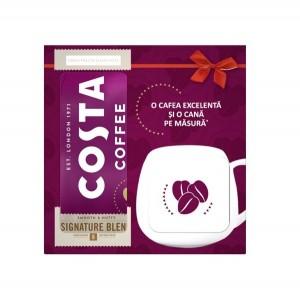 Pachet promotional ce contine 2 pungute de cafea macinata Costa Signature Blend Medium Roasta 200g si o cana Costa de 400ml cadou.