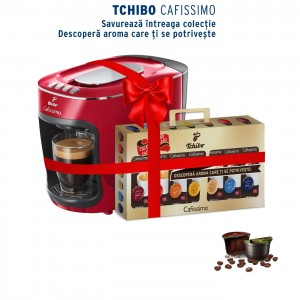Pachet espressor Tchibo Cafissimo Mini Salsa Red cadou 70 capsule Classic Collection