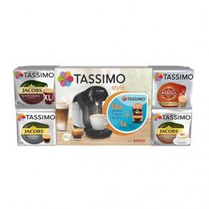 Pachet promo espressor Bosch Tassimo Style si 12 cutii capsule