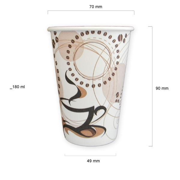 Pahare automate din carton (Albe cu desen) set 100 buc